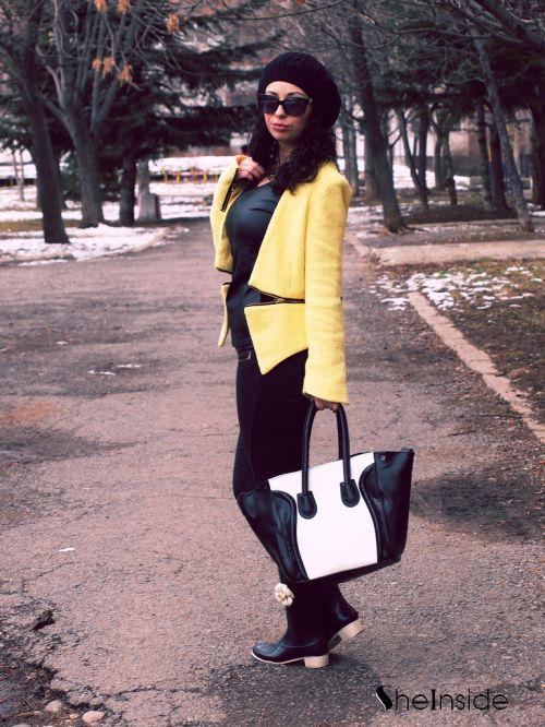 Yellow V Neck Long Sleeve Zipper Embellished Coat - Sheinside.com
