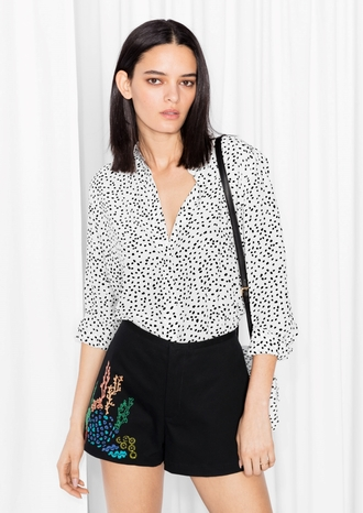 shirt polka dots black and white