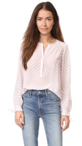 blouse long pale blush top
