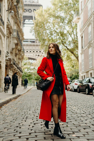 thelittlemagpie blogger coat skirt shoes fall outfits red coat ankle boots winter outfits fishnet tights