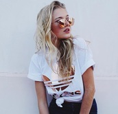 shirt,adidas,metallic,t-shirt,round sunglasses,sunglasse,sunglass,top,sportswear,hot,grunge,coachella,trendy,summer,girl