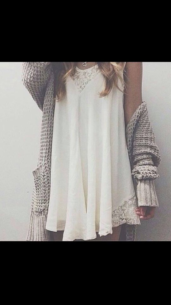 white dress white dress sweet cardigan grey knitted cardigan long cardigan fall sweater fall outfits white lace dress lace dress siren london loose girly short creme baggy pockets short/mini elegent loose fit sweater necklace