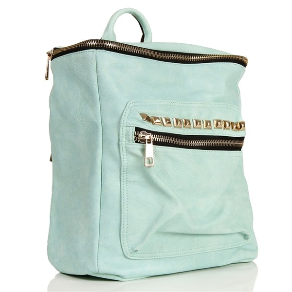 Mint Pyramid Studded Tote Bag