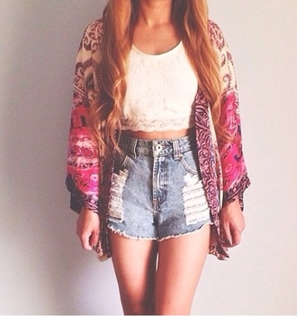 coat kimono cardigan tank top white tank top shorts high waisted shorts high waisted denim shorts denim jeans crop crop tops cute hot summer haute hippie boho chic sexy tribal pattern ikat clothes style shirt
