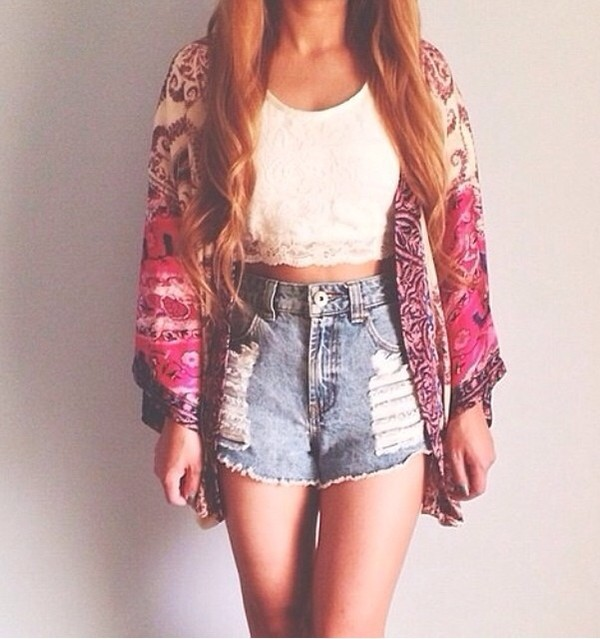 coat kimono cardigan tank top tank top white tank top shorts High waisted shorts high waisted denim shorts denim jeans crop crop tops cute hot summer haute hippie boho boho chic sexy tribal pattern ikat clothes style shirt
