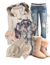 shirt,ugg boots,jacket,jeans,scarf,plaid shirt,plaid,shoes
