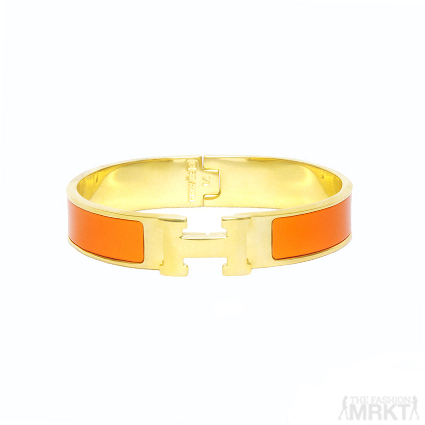 Hermes Inspired Enamel Clic H Bracelet Orange|Black / TheFashionMRKT