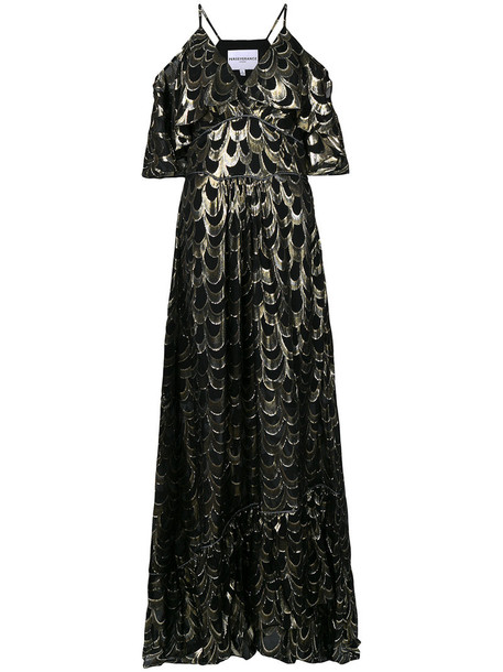 Perseverance London gown metallic women black silk dress