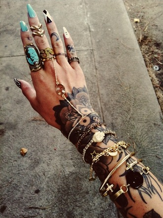 jewels found on tumblr ring sweet indian hipster galaxy gypsy one turquoise jewelry turquoise jewelry stiletto nails chevron gold midi rings knuckle ring nails gold jewelry bracelets tattoo