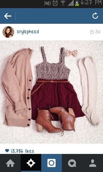 dress burgundy girl girly short mini mini dress boots cardigan