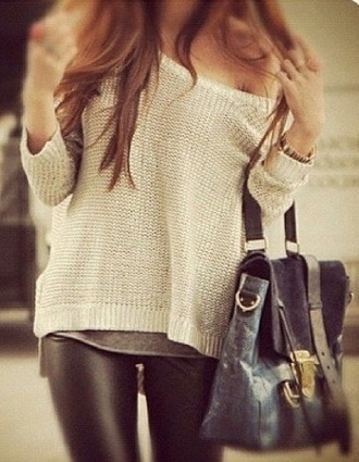 sweater clothes cute fashion tumblr off the shoulder oversized sweater jeans bag ivory cream creme beige loose
