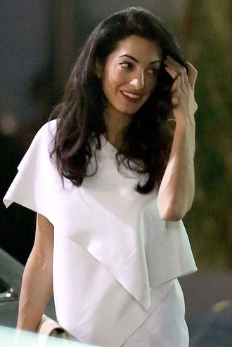 top amal alamuddin one shoulder white
