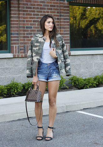 seekingsunshine blogger jacket shirt shorts shoes camouflage camo jacket louis vuitton bag denim shorts sandals