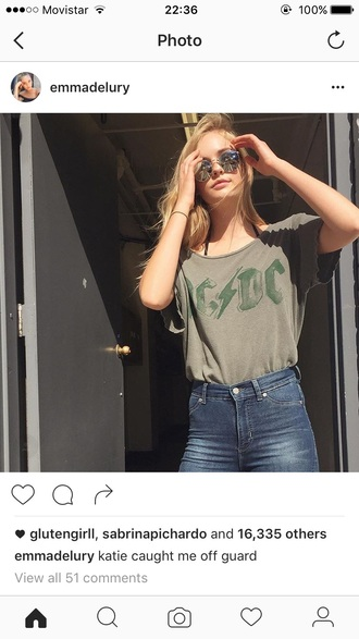blouse model cool fashion tumblr grunge acdc graphic tee graphic top sunglasses clothes chic tumblr style blonde hair