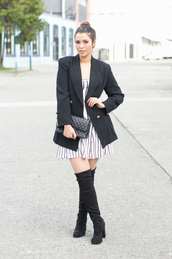 gumboot glam,blogger,jewels,office outfits,black blazer,striped dress,black bag,knee high boots,black boots,suede boots