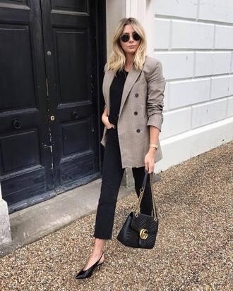 jacket tumblr plaid plaid blazer grey blazer denim jeans black jeans shoes slingbacks bag black bag fall outfits check blazer