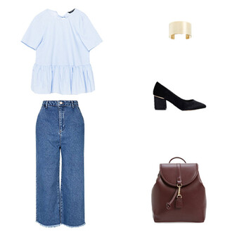 blouse backless top backless open back blue top culottes denim culottes fall outfits back to school cuff bracelet