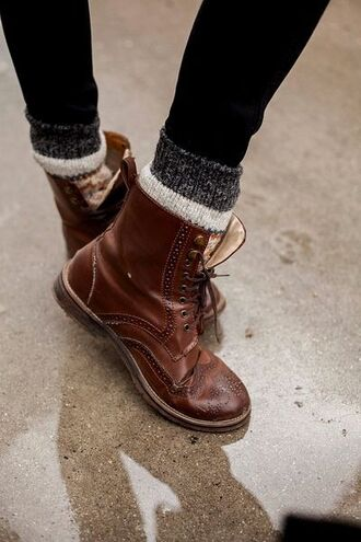 shoes boots leather lace up leather boots brown boots winter socks mid calf boots combat boots brown leather boots lace up boots underwear shoes fall autumn boots