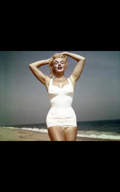 swimwear,marilyn monroe,bikini,beach,white one piece swimsuit