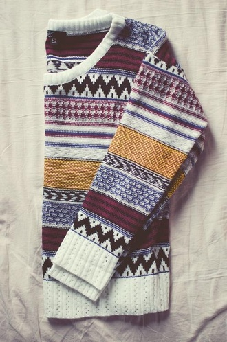sweater blue hipster  indie cute cute hipster pattern aztec fall outfits oversized sweater jumper sweater autumn winter love