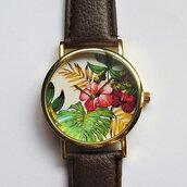 jewels,tropical flower watch,freeforme watch,watch,jewelry,bracelets,vintage,jungle leaves,leaves,flowers,floral,jewelry bracelets,leaves print