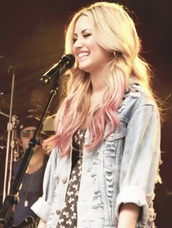 jacket,demi lovato,jeans,pink,ombre,dress