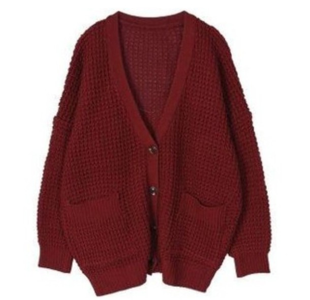 cardigan red knit comfty big