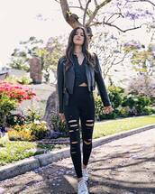jacket,top,black top,pants,black pants,ripped pantes,cropped jacket,black jacket,shoes,bag
