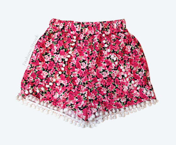 elastic pom pom shorts floral shorts floral tassel shorts beach shorts casual play shorts blogger blogger fashion red shorts high wasited low waist high waist