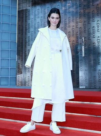 coat all white everything fashion week sneakers pants model kendall jenner shoes