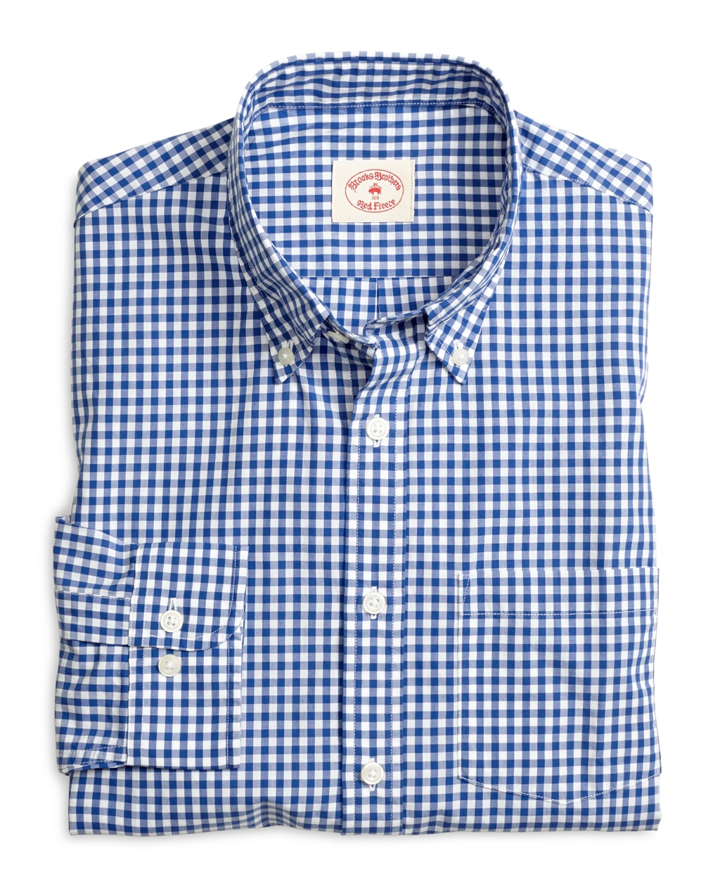 Men's Red Fleece Gingham Sport Shirt