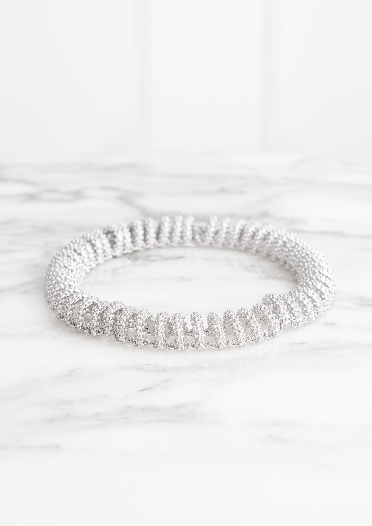 Balenciaga-Chain Bubble Track Necklace Palladium- Departement Feminin