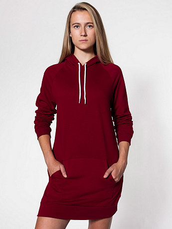 California Fleece Pullover Raglan Hoodie Dress | American Apparel