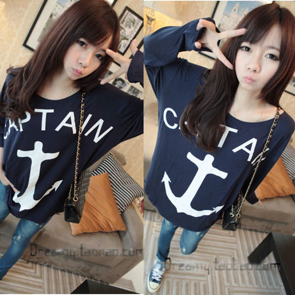 New womens loose hook anchor printing round neck long sleeve t