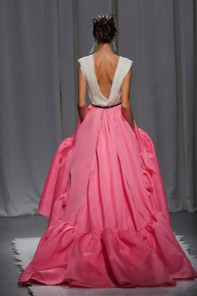 pink dress white low back low back dress