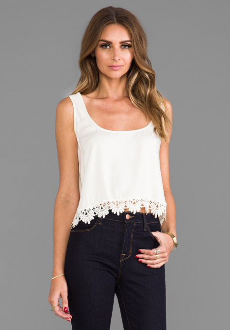 FOR LOVE & LEMONS Loyal Crop Tank Top w/ Lace Trim in Ivory - For Love & Lemons