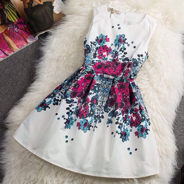 71b34eceb75a dress floral white dress pink blue white skater dress flowers spring white