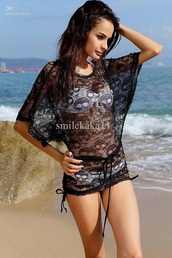 swimwear,cover up,lace dress,black dress,white top