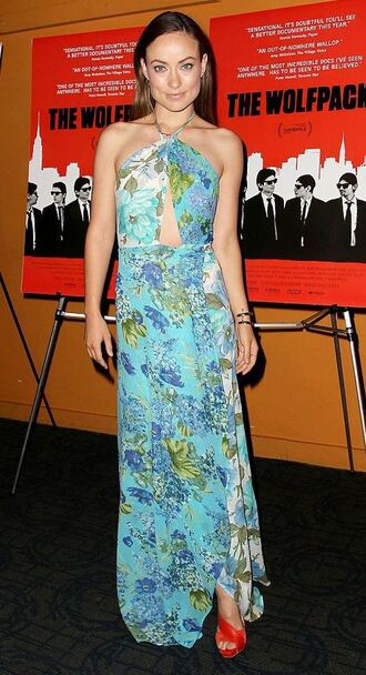 dress maxi dress summer summer dress olivia wilde sandals floral