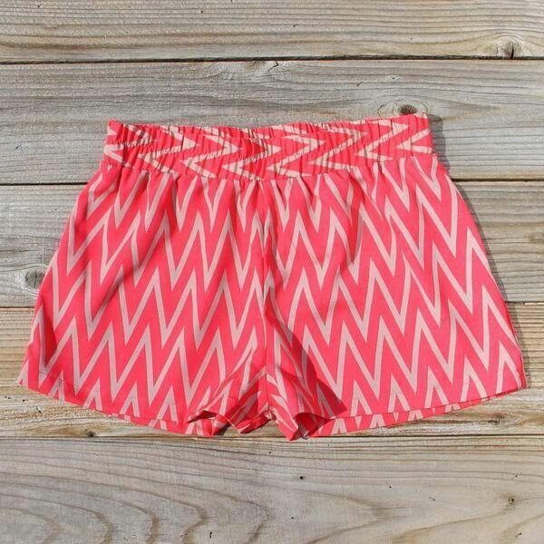 shorts pink chiffon pink coral chevron