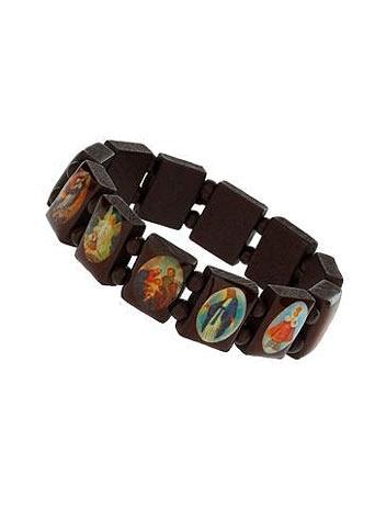 Brown religious wood stretch bracelet