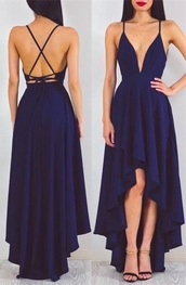 dress,navy,plunge neckline,cross over straps,backless,high low dress,backless cross over straps  embroided