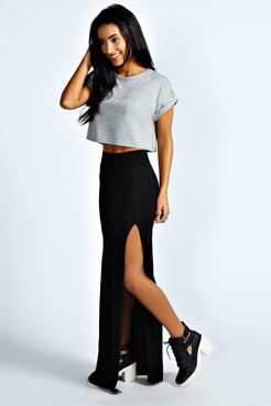 Soraya Black Thigh High Split Maxi Skirt at boohoo.com