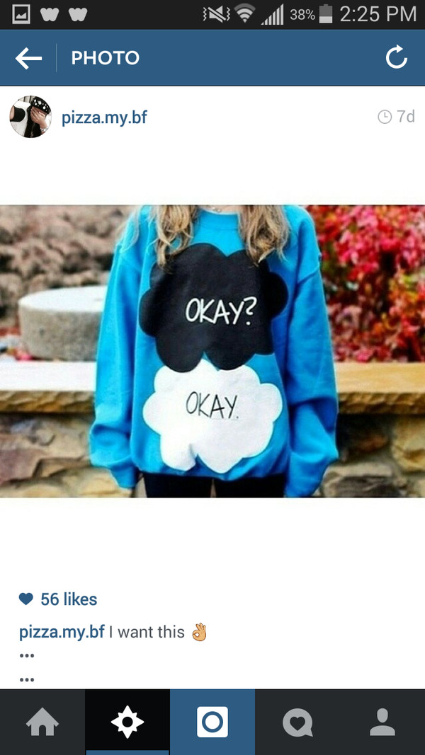 sweater blue the fault in our stars