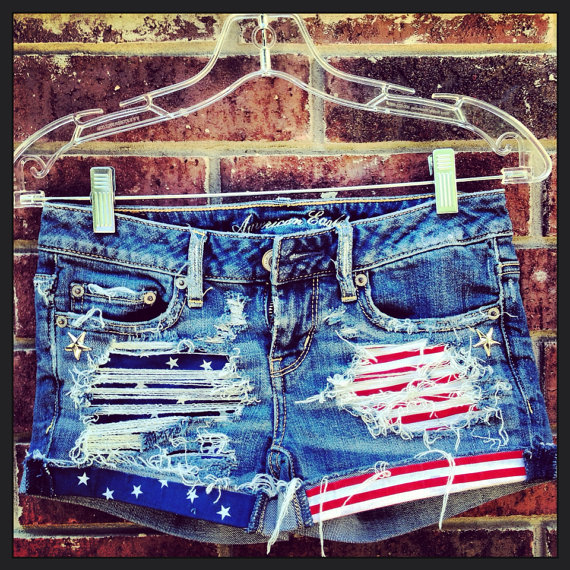 Stars and stripes studded upcycled hipster denim by designedbytwo