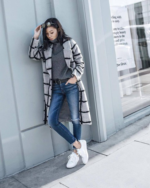 417fdf55023 coat tumblr printed coat checkered jeans denim blue jeans skinny jeans  sneakers low top sneakers white