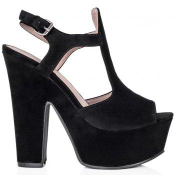 Buy PINKY Block Heel Peep Toe Platform Shoes Black Suede Style Online
