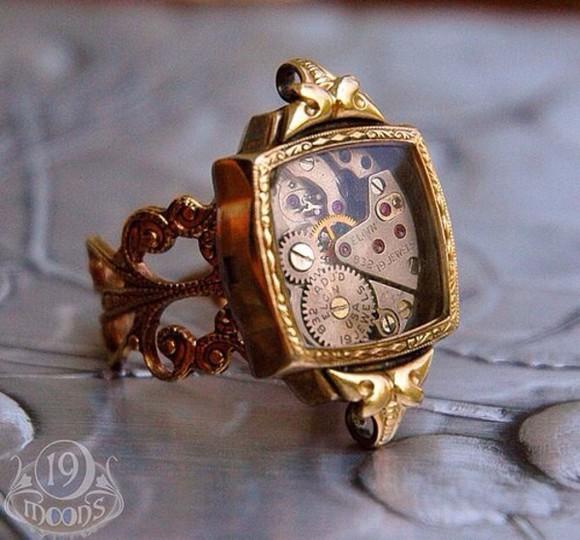 jewels ring gold vintage bronze