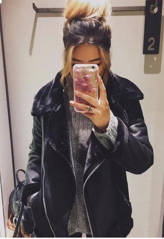 coat black winter outfits fourrure