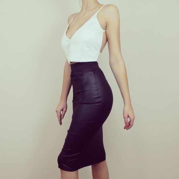 skirt knee lenght black leather stretch